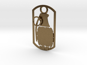 Hand grenade dog tag in Natural Bronze