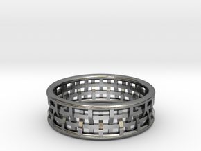 Basket Weave Ring in Polished Silver: 8.5 / 58