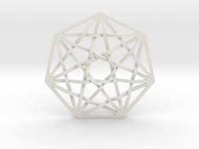 """7D Hypercube Pendant 1.5"""" in White Natural Versatile Plastic"""