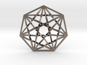 7D Hypercube Pendant in Polished Bronzed Silver Steel
