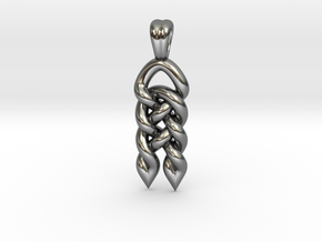 Interlaced beard [pendant] in Polished Silver
