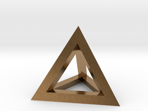 Hollow Pyramid Pendant in Natural Brass