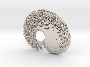 3D Fractal Tadpole Pendant in Platinum
