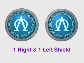 Lambda Omega - Round Power Shields (L&R) in Smooth Fine Detail Plastic: Small