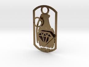 Diamond grenade dog tag in Natural Bronze
