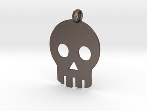 Skull necklace charm in Polished Bronzed Silver Steel