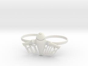 Plane Double Ring in White Natural Versatile Plastic
