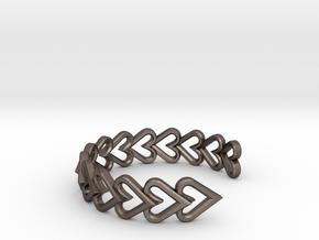 FLYHIGH: Open Heart Vertical Bracelet in Polished Bronzed Silver Steel