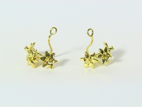 Daffodil earring with three small flowers in 14k Gold Plated Brass