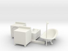 S Scale Bathroom Set in White Natural Versatile Plastic