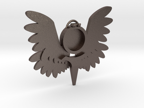 Smaller Winged Pendant m2 in Polished Bronzed Silver Steel