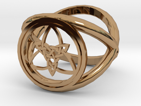 Wiccan Power Of Three Ring (Model Two) in Polished Brass