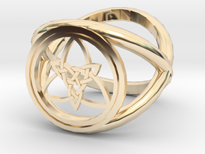 Wiccan Power Of Three Ring (Model Two) in 14K Yellow Gold