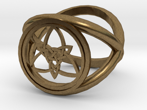 Wiccan Power Of Three Ring (Model Two) in Natural Bronze