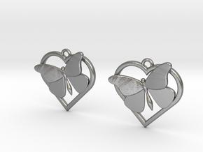Heart Butterfly Earrings in Natural Silver