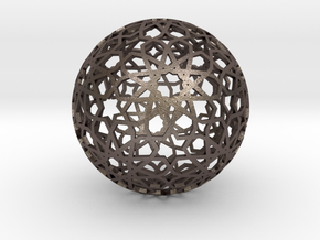 Great Rhombicosadodecahedron Star LARGE in Polished Bronzed Silver Steel
