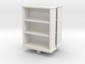 Wooden Bookcase (x2) 1/64 in White Natural Versatile Plastic