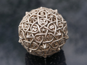 Multiplicitous d20 in Polished Bronzed-Silver Steel