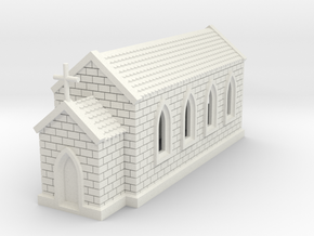 N Scale Small Church 1:160 in White Natural Versatile Plastic