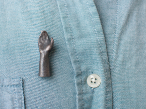 High Five Lapel Pin in Polished and Bronzed Black Steel