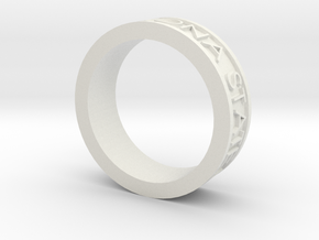Basic Ring Size 7.5 ASU 2010 in White Natural Versatile Plastic