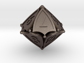 D10 Balanced - Shield (Renumbered) in Polished Bronzed-Silver Steel