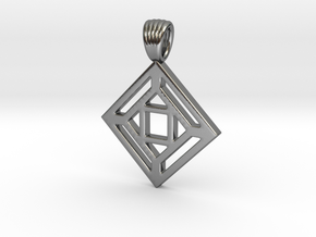 Squares'n arrows [Pendant] in Polished Silver