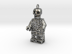 Los Muertos Lego Man Key Chain in Natural Silver