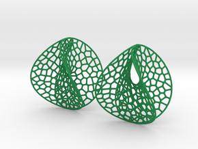 Enneper Voronoi Dream Earrings (3 sizes) in Green Processed Versatile Plastic: Large