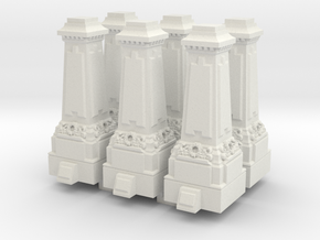 N Gauge Statue Plinth x 6 in White Natural Versatile Plastic