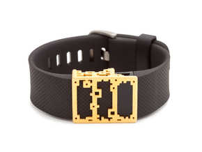 Steel Lucas slide for Fitbit Charge & HR in Polished Gold Steel