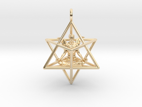 Startetrahedron with Male Angel 40 mm in 14k Gold Plated Brass