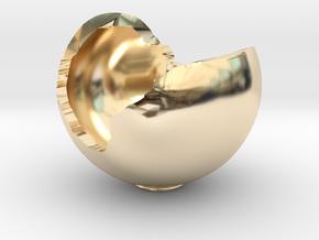 Miniature Ornament Broken Spherical Bowl in 14K Yellow Gold