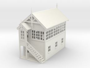 VR Signal Box #3 [Left Stairs] 1:87 Scale in White Natural Versatile Plastic