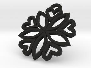 pendant 5 hearts (30mm) in Black Natural Versatile Plastic