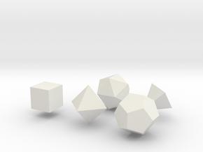 Platonic Solids in White Natural Versatile Plastic