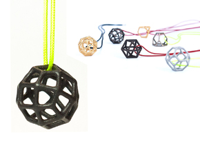 Polyhedral Jewelry: Geodesic Cube in Polished and Bronzed Black Steel