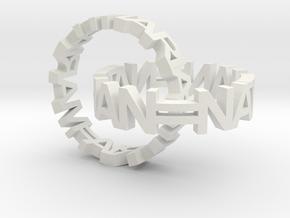 Interlocked Name Rings in White Natural Versatile Plastic