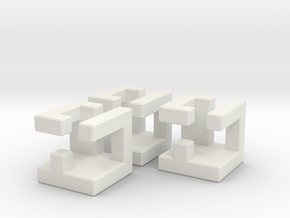 Lock Nested Burr in White Natural Versatile Plastic