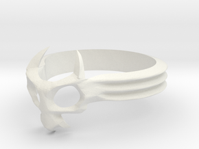 Skull Mask Ring -v3 in White Natural Versatile Plastic