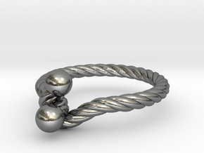 Ring - Twist with Balls in Polished Silver