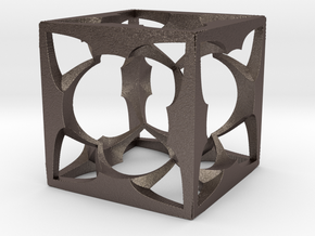 Menger Cube small 30mm in Polished Bronzed Silver Steel