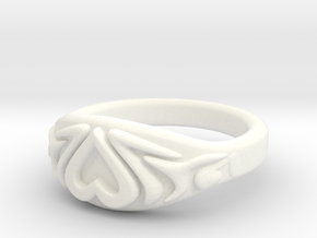 Heart Ring very small in White Processed Versatile Plastic