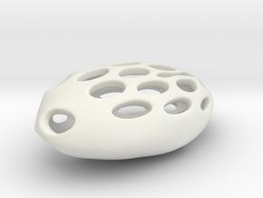 Lucky Pod Key Fob in White Natural Versatile Plastic