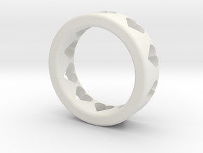 large adult heart ring in White Natural Versatile Plastic