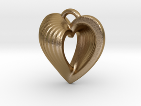 Heart Shell Pendant in Polished Gold Steel
