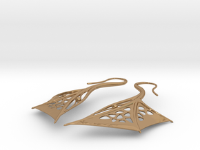 Wing Earrings in Polished Brass