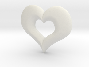 Valentines Day Heart in White Natural Versatile Plastic
