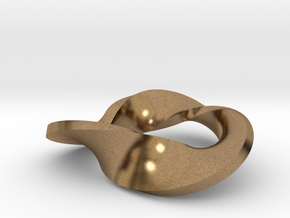 trefoil moebius pendant in Raw Brass