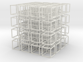 Interlocked Cubes in White Natural Versatile Plastic